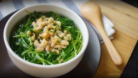 Ένα κύπελλο της σούπας των ξηρών γαρίδων και του πράσινου λάχανου στοκ φωτογραφία με δικαίωμα ελεύθερης χρήσης