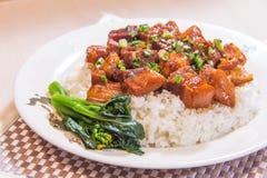 Ένα κύπελλο του ρυζιού με το κρέας στοκ εικόνες