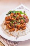 Ένα κύπελλο του ρυζιού με το κρέας στοκ εικόνα με δικαίωμα ελεύθερης χρήσης