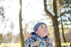 Ένα λατρευτό παχύ παιδί στη μάλλινη ΚΑΠ και χειμερινό σακάκι στο πάρκο το χειμώνα Στοκ εικόνα με δικαίωμα ελεύθερης χρήσης
