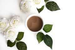 Ένα λευκό ανθίζει και caffee Στοκ Εικόνες