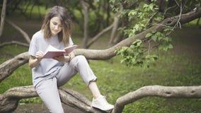 Ένα λευκό κορίτσι brunette διαβάζει ένα βιβλίο στο πάρκο Στοκ εικόνα με δικαίωμα ελεύθερης χρήσης