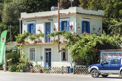 Ένα λιμενικό μπροστινό σπίτι στο Πόρο, Elios Proni, Cephalonia Kefelonia, Ελλάδα στοκ φωτογραφία