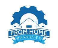 Ένα λογότυπο ακίνητων περιουσιών στο μπλε χρώμα διανυσματική απεικόνιση