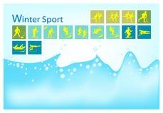 Ένα μέγα σύνολο 15 εικονιδίων χειμερινού αθλητισμού ελεύθερη απεικόνιση δικαιώματος