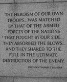 Ένα μήνυμα από τον Πρόεδρο Truman στο WWII μνημείο στο Washington DC στοκ φωτογραφίες