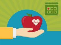 Ένα μήλο ημερησίως για τις καλές υγείες διανυσματική απεικόνιση