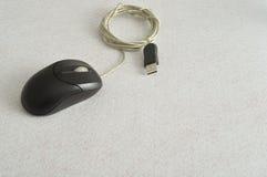 Ένα μαύρο ποντίκι υπολογιστών Στοκ φωτογραφία με δικαίωμα ελεύθερης χρήσης