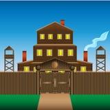 Ένα μεγάλο σπίτι κούτσουρων τρεις-ιστορίας με έναν ξύλινο φράκτη διανυσματική απεικόνιση