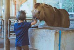 Ένα μικρό αγόρι φροντίζει το άλογό του Στοκ φωτογραφία με δικαίωμα ελεύθερης χρήσης