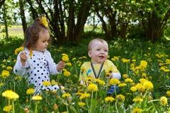 Ένα μικρό κορίτσι και λίγο ένα μικρό αγόρι συγκεντρώνει τα κίτρινα λουλούδια στοκ φωτογραφίες με δικαίωμα ελεύθερης χρήσης