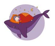 Ένα μικρό κορίτσι κοιμάται σε μια φάλαινα σπορείο άνετο αφηρημένο θέμα θάλασσας ανασκόπησης αφαίρεσης Απομονωμένα σχέδιο αντικείμ διανυσματική απεικόνιση