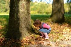 Ένα μικρό κορίτσι περπατά σε ένα δασικό πάρκο το θερμό φθινόπωρο στοκ φωτογραφία με δικαίωμα ελεύθερης χρήσης