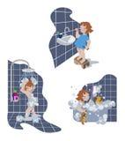 Ένα μικρό κορίτσι που παίρνει ένα ντους, βουρτσίζοντας τα δόντια στο επίπεδο σχέδιο Διανυσματική απεικόνιση