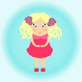 Ένα μικρό κορίτσι σε ένα ρόδινο φόρεμα Στοκ Εικόνες
