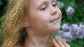 Ένα μικρό κορίτσι υπαίθρια σε ένα πάρκο ή έναν κήπο κρατά τα ιώδη λουλούδια Ιώδεις θάμνοι στο υπόβαθρο Καλοκαίρι, πάρκο φιλμ μικρού μήκους