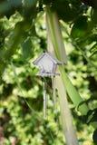 Ένα μικρό ξύλινο γκρίζο να τοποθετηθεί κιβώτιο για τα πουλιά στο φυσικό υπόβαθρο Το όμορφο birdhouse στο πράσινο πάρκο Το ξύλο χε Στοκ Εικόνα