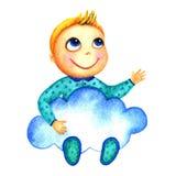 Ένα μικρό χαριτωμένο χαμογελώντας αγόρι που κρατά ένα μεγάλο μπλε σύννεφο στα χέρια του Μωρά φιλανθρωπίας Το παιδί ονειρεύεται κα Στοκ Εικόνα