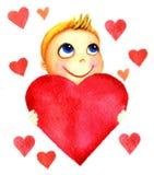 Ένα μικρό χαριτωμένο χαμογελώντας αγόρι που κρατά μια μεγάλη κόκκινη καρδιά στα χέρια του Μωρό φιλανθρωπίας Το παιδί ονειρεύεται  Στοκ Εικόνα