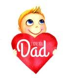 Ένα μικρό χαριτωμένο χαμογελώντας αγόρι που κρατά μια μεγάλη κόκκινη καρδιά με τις λέξεις στα χέρια του ο μπαμπάς ι σας αγαπά Ευτ Στοκ εικόνα με δικαίωμα ελεύθερης χρήσης