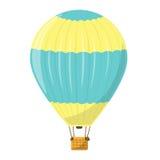 Ένα μπαλόνι ζεστού αέρα κίτρινος και μπλε Αερόστατο που απομονώνεται απεικόνιση αποθεμάτων