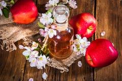 Ένα μπουκάλι του μηλίτη ξιδιού μηλίτη μήλων, των φρέσκων μήλων και του Apple-δέντρου ανθίζει σε ένα ξύλινο υπόβαθρο Ύφος χώρας Στοκ εικόνα με δικαίωμα ελεύθερης χρήσης