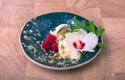 Ένα μπλε γύρω από το πιάτο αργίλου με το άσπρο παγωτό Ένα όμορφο κρύο επιδόρπιο σε ένα ξύλινο υπόβαθρο Παγωτό με ένα λουλούδι Στοκ Εικόνες