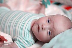 Ένα μωρό έξι μηνών βρεφών βρίσκεται σε μια αναπτυσσόμενη κουβέρτα και παίζει με τα παιχνίδια Εκλεκτική εστίαση στοκ εικόνες