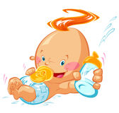 Μωρό με ένα μπουκάλι γάλακτος Στοκ Φωτογραφίες