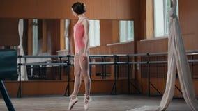Ένα νέο κορίτσι εκτελεί χαριτωμένα τα τεχνάσματα acrobatics στο στούντιο Στοκ Εικόνες
