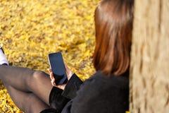 Ένα νέο κορίτσι κάθεται από ένα δέντρο, σε ένα πάρκο φθινοπώρου με ένα τηλέφωνο Στοκ Εικόνα