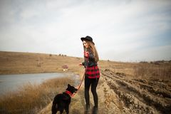 Ένα νέο κορίτσι περπατά με ένα σκυλί στην ακτή μιας λίμνης Πίσω άποψη στοκ εικόνα με δικαίωμα ελεύθερης χρήσης