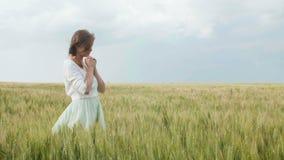 Ένα νέο κορίτσι που προσεύχεται σε έναν τομέα σίτου, μια γυναίκα μεταξύ των αυτιών του καλαμποκιού που απολαμβάνει τη φύση και πο απόθεμα βίντεο