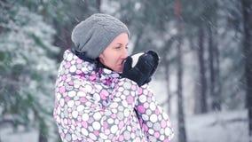 Ένα νέο κορίτσι τουριστών θερμαίνεται με το καυτό τσάι, καφές, που στέκεται σε ένα δάσος ή ένα πάρκο μια χιονώδη χειμερινή ημέρα  απόθεμα βίντεο