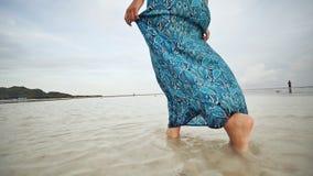 Ένα νέο ρωσικό κορίτσι με τις ευτυχείς συγκινήσεις περπατά κατά μήκος της παραλίας και θέτει μπροστά από τη κάμερα Το κορίτσι είν απόθεμα βίντεο