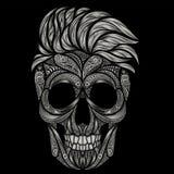 Ένα νεκρό hipster Διανυσματικό ανθρώπινο κρανίο από τα διάφορα σχέδια Στοκ Εικόνες