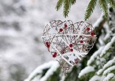 Ένα ντεκόρ καρδιών για το χειμώνα Στοκ Φωτογραφίες