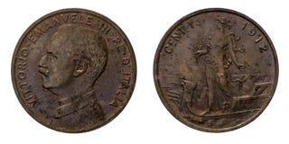 Ένα νόμισμα 1912 Prora Vittorio Emanuele ΙΙΙ χαλκού λιρετών 1 σεντ βασίλειο της Ιταλίας Στοκ εικόνα με δικαίωμα ελεύθερης χρήσης