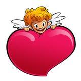 Cupid πίσω από μια τεράστια καρδιά Στοκ Φωτογραφίες