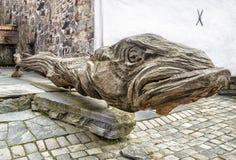 Ένα ξύλινο μνημείο των μπακαλιάρων beriberi Νορβηγία Στοκ Εικόνες