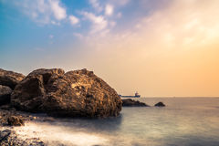 Ένα ομαλό seascape φως ηλιοβασιλέματος Στοκ εικόνα με δικαίωμα ελεύθερης χρήσης