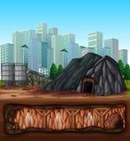 Ένα ορυχείο δίπλα στην πόλη απεικόνιση αποθεμάτων