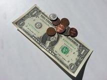 Ένα δολάριο και περίπου αλλαγή Στοκ Εικόνα