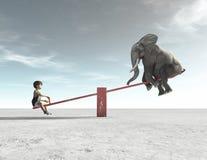 Ένα παιδί είναι σε μια λικνίζοντας καρέκλα με έναν ελέφαντα διανυσματική απεικόνιση