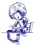 Ένα παιδί μαγειρεύει ένα γεύμα διανυσματική απεικόνιση