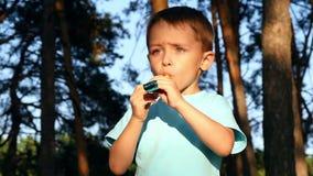 Ένα παιδί στο δάσος φυσά έναν συριγμό Εορταστικός συριγμός Κατά τη διάρκεια του ηλιοβασιλέματος, ένα αγόρι παίζει στο πάρκο απόθεμα βίντεο