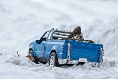 Ένα παιχνίδι Μπλε ανοιχτό φορτηγό snowdrift στο χειμερινό δρόμο Φέρνοντας κώνοι έλατου στην πλάτη ενός σώματος αυτοκινήτων Χειμών στοκ φωτογραφία με δικαίωμα ελεύθερης χρήσης