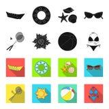 Ένα παιχνίδι του μπάντμιντον, μια σφαίρα και ο ήλιος Τα καθορισμένα εικονίδια συλλογής θερινών διακοπών στο Μαύρο, flet ορίζουν τ Στοκ εικόνες με δικαίωμα ελεύθερης χρήσης