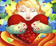 Ένα παιδί με μια μεγάλη καρδιά δίνει τα φιλιά, εκφράζοντας την αγάπη και την αγάπη τους διανυσματική απεικόνιση