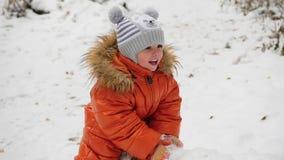 Ένα παιδί που ταλαντεύεται σε ένα πεσμένο δέντρο στο χειμερινό πάρκο απόθεμα βίντεο